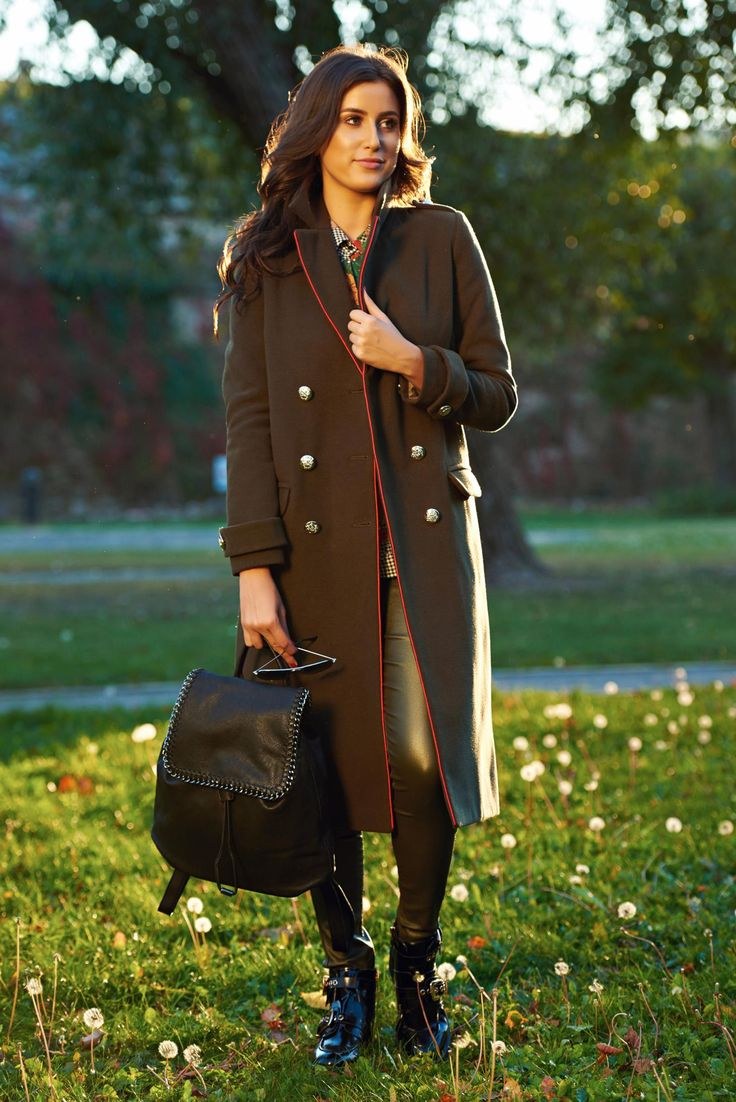 LaDonna darkgreen casual straight coat from wool with button accessories, wool, button accessories, inside lining, long sleeves, women`s coat, padded shoulders