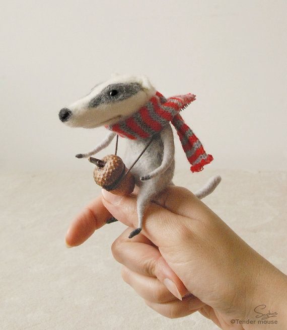 Needle felted badger, felt ornament, soft sculpture, figurine, Luxembourg art, cute character,  tender mouse