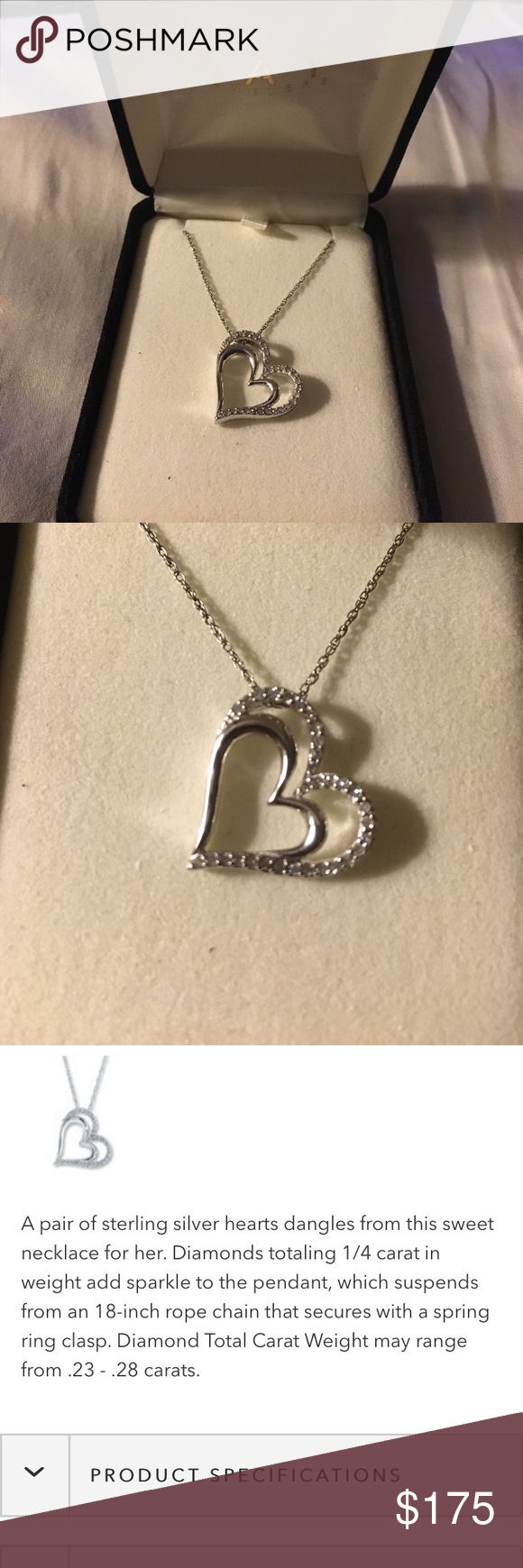 Brand new!! Kay Jewelers Diamond heart necklace Check 3rd photo for detailed description on website. Silver Double heart necklace with diamonds on the outer heart Kay Jewelers Jewelry Necklaces