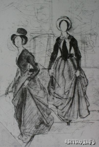 Портрет сестер Шишмаревых. Эскиз. 1839. 29х20. Бумага, карандаш.