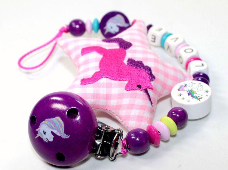 Schnullerkette mit Namen Einhorn Unicorn Rainbow Mädchen Baby