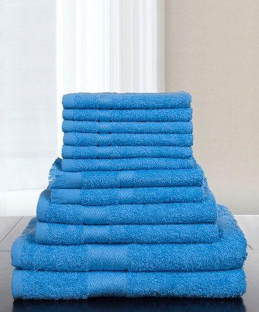 Loving this Blue Lavish Home 24-Piece Egyptian Cotton Towel Set on #zulily! #zulilyfinds