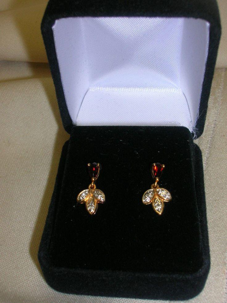 New Old Stock Pierced Earrings Garnet Dangle Leaf Design  #Unbranded #DropDangle