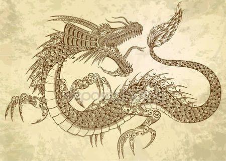 Скачать - Вектор эскиз каракули племенной дракон татуировки хной — стоковая иллюстрация #11300465