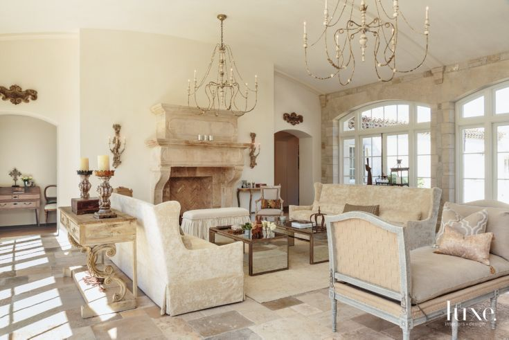 Traditional Cream Great Room with French Settee