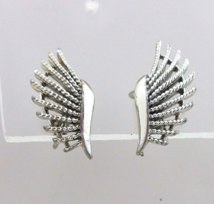 Coro Earrings Silver Clip On Backs Fish Fins Atomic 9027 #Coro #Cluster