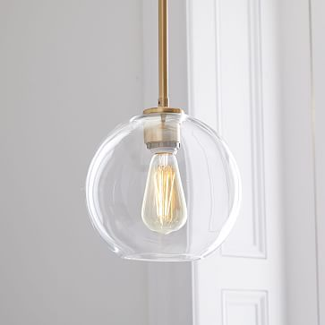 Over the counter  Purchased similar lights from target in black   Sculptural Glass Globe Pendant - Small #westelm