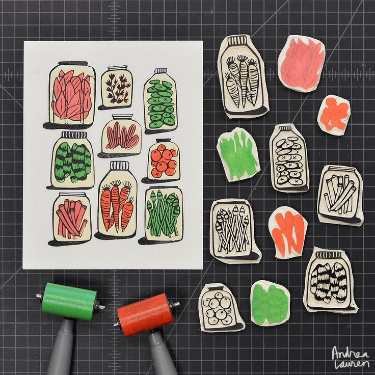 """""""Using up some leftover bits to carve and print pickles in three colors"""""""