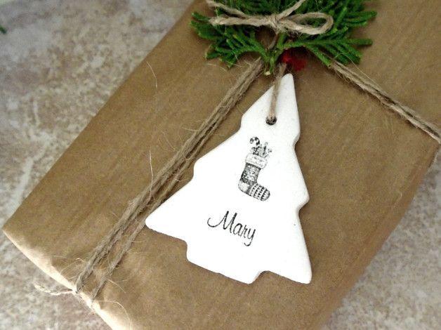 Christmas Decorations – Personalized Christmas tree ornament/gift tag – a unique product by AntigoniCreations. Via en.DaWanda.com.