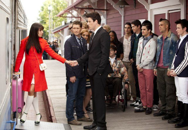 Still of Lea Michele, Cory Monteith, Matthew Morrison, Mark Salling, Jayma Mays, Dianna Agron, Darren Criss, Chris Colfer, Amber Riley, Chord Overstreet and Samuel Larsen in Glee.