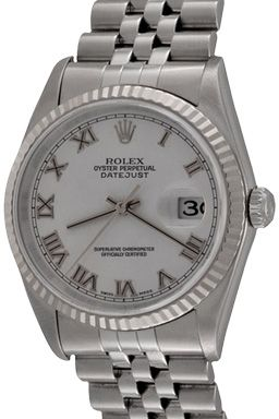 Wingates Quality Watches: For Sale, one Pre Owned Mens Rolex Datejust Automatic Winding Wrist Watch with White Dial with Roman numerals
