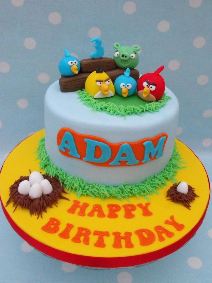 """Angry Birds Cake - The birthday cake I made for my son who is crazy about Angry Birds! 6"""" vanilla sponge with white chocolate buttercream. All handmade, edible decorations."""