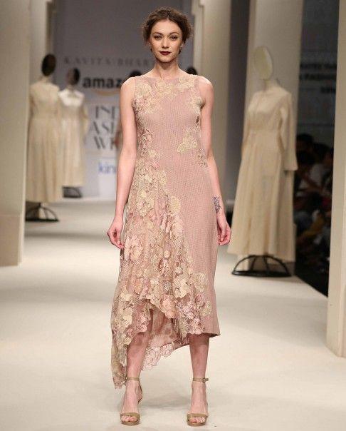 Blush Dress with Floral Applique - Kavita Bhartia - Designers