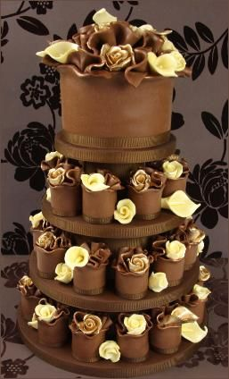 Gold and White Chocolate Rose Miniature Wedding Cakes by Katie Watts of Couture Cakes, UK