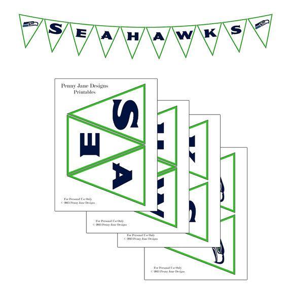 Seahawks Superbowl Football Night Printable Banner | Instant Download | Seahawks vs Broncos Superbowl Party Decor
