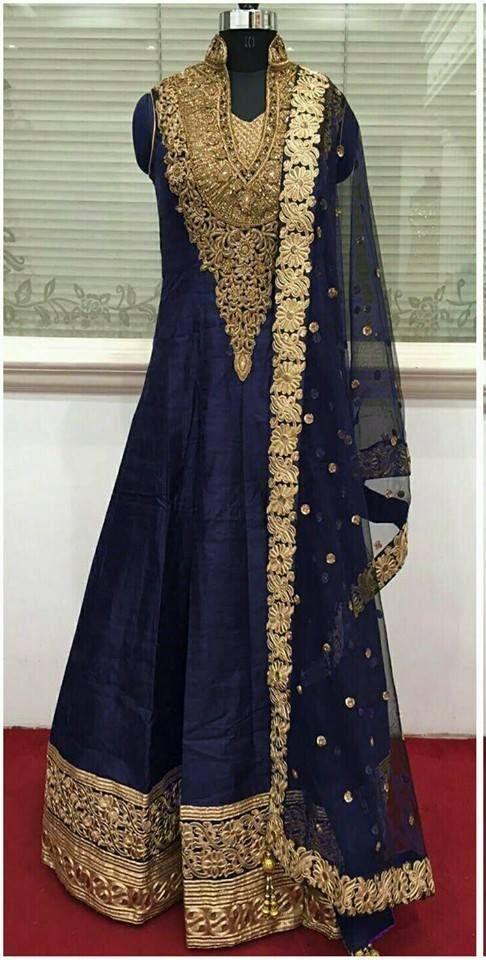 Buy D6 Studio: Navy Blue Embroidered Anarkali • Delhi 6 Store