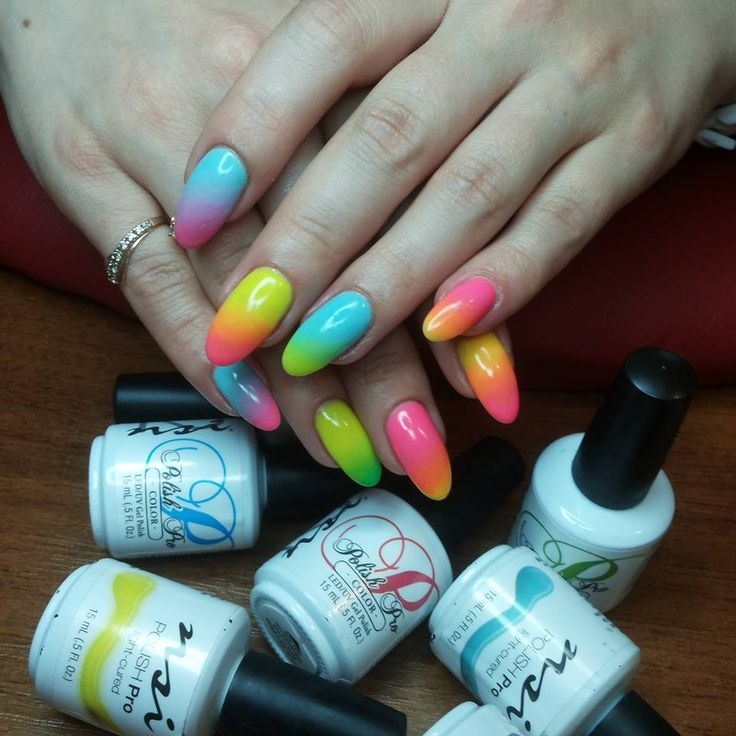 Neon Ombre! Love these nails they are so bright!