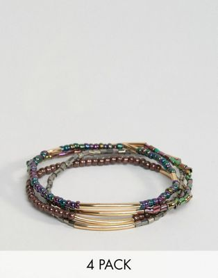 ASOS Pack of 4 Iridescent Stretch Bead Friendship Bracelets