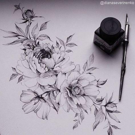 Blumen Designs + 120 Designs – Tattoos Ideen #flowertattoos