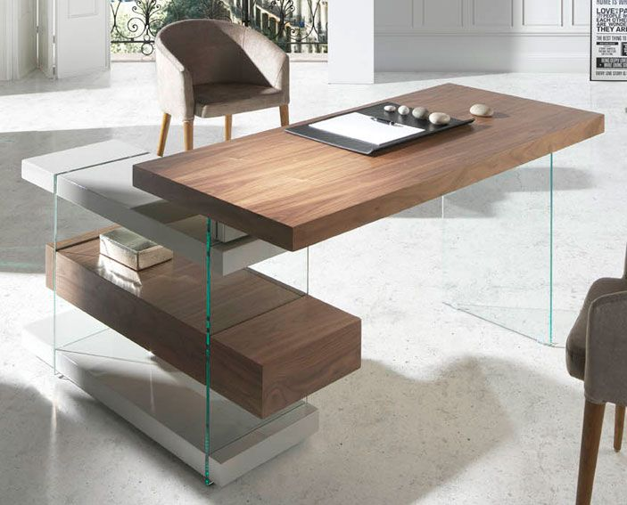 Mesa de escritorio moderna munio material madera de nogal for Mueble escritorio