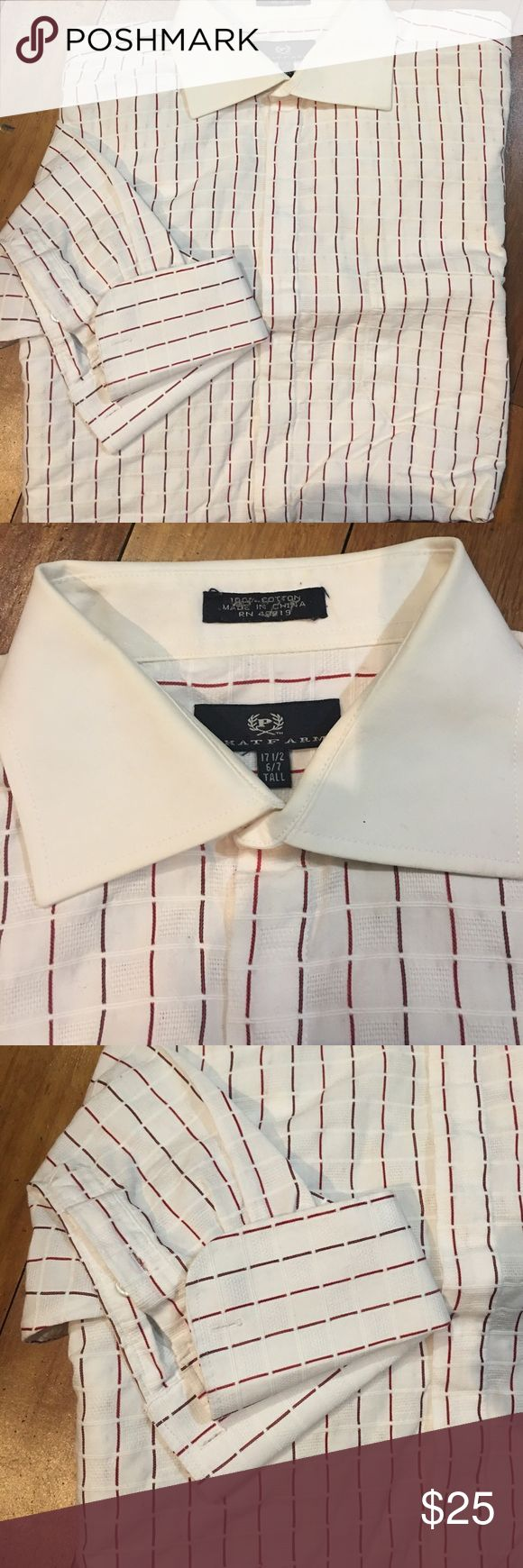White w burgundy stripe French cuff shirt 17.5 6/7 White with burgundy striped button down shirt French cuffs with white contrasting collar preowned excellent condition 17.5 6/7 tall Phatfarm Shirts Dress Shirts