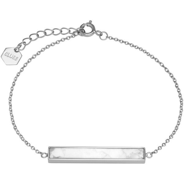 CLUSE Rectangular Bar Chain Bracelet (435 NOK) ❤ liked on Polyvore featuring jewelry, bracelets, silver, white gold charms, chain jewelry, chain charms, engraved bangle and charm bangle