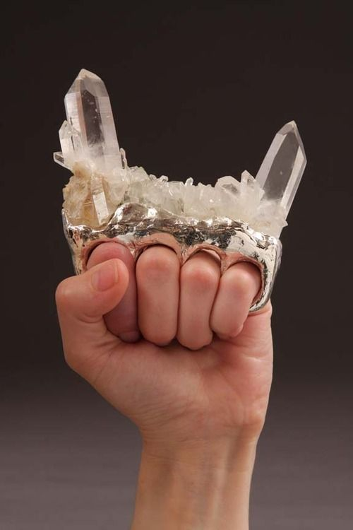 "randomredux:  donovonshepard:  rosalarian:  katzevogel:  #if i become a magical girl i want this to be my weapon  If you were ever wondering what ""hard femme"" means, this is the very definition.  Quartz Knuckles… BRILLIANT!  I LOVE the idea of this as a Magical Girl weapon. A dirty-fighting, underhanded, streetwise Magical Girl. A girl Sam Vimes in a skirt."