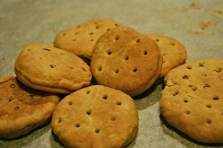 buccellatum, or Roman hardtack, a simple biscuit made of flour, salt, and water. It is rock hard, baked twice at low temperatures for a very long time to ensure no moisture is left inside. This makes it ideal for long campaigns, and it was served not only to Roman soldiers, but crusaders, sailors, and soldiers in the American Civil War.