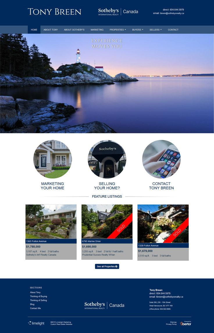 Website Design For Sotheby S Realtor Tony Breen Of West Vancouver Uses The Ubertor Cms With Images Website Design Property Buyers West Vancouver
