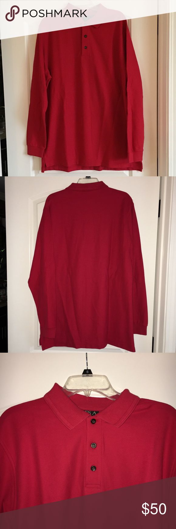 Men's Jos A Banks Red Long Sleeve Polo NWT NEW WITH TAGS  Men's Red Joseph A Banks Traveler's Collection Long Sleeved Polo shirt  Size XL  100% Cotton Made in India IT IS WELL MADE AND A NICE THICK MATERIAL If you have any questions or want other pictures please let me know. Thanks so much! Shirts Tees - Long Sleeve