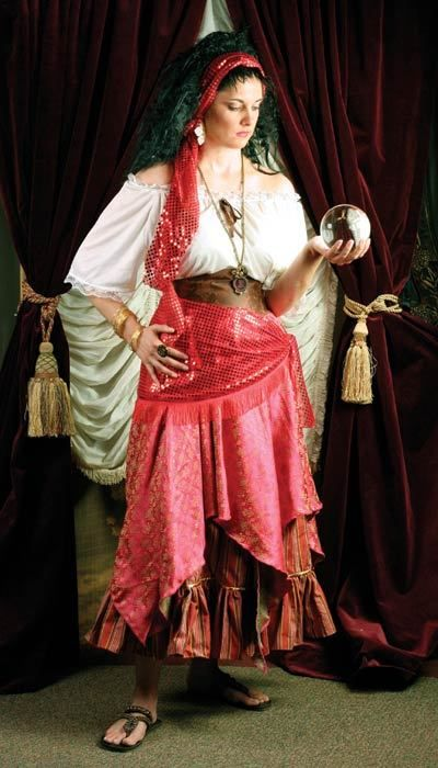 80 Gypsy Fortune Teller Costume Sizes S To 3x Includes