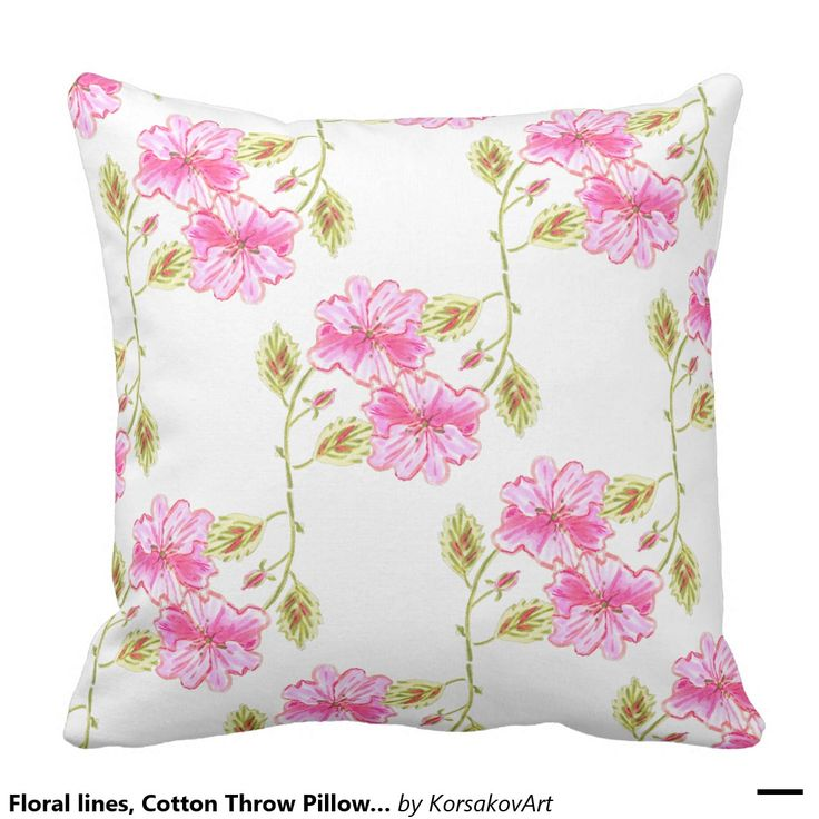 #Floral lines, Cotton Throw #Pillow 20x20 #flowers #home #interior #design