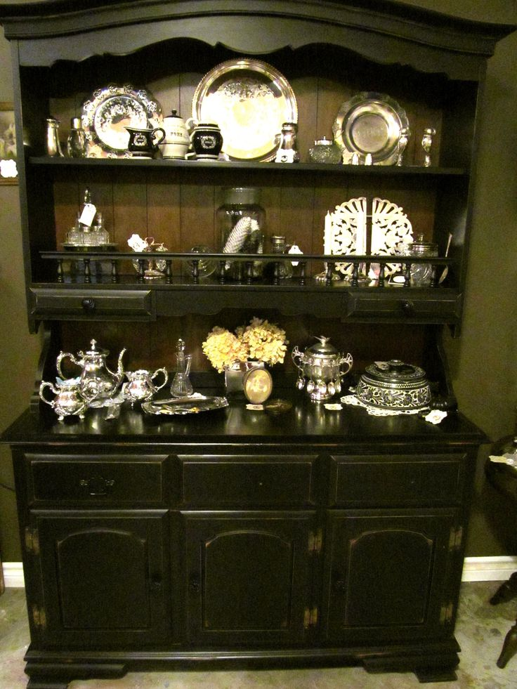 Black Painted Vintage Buffett and Hutch is perfect for showing your silver or white dishes. Left the back wood and distressed the edges for a more softer look.