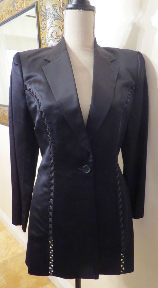Authentic Richard Tyler Couture Black Satin Pantsuit with Shiny Ribbon Cutout Look Detail, Size 8