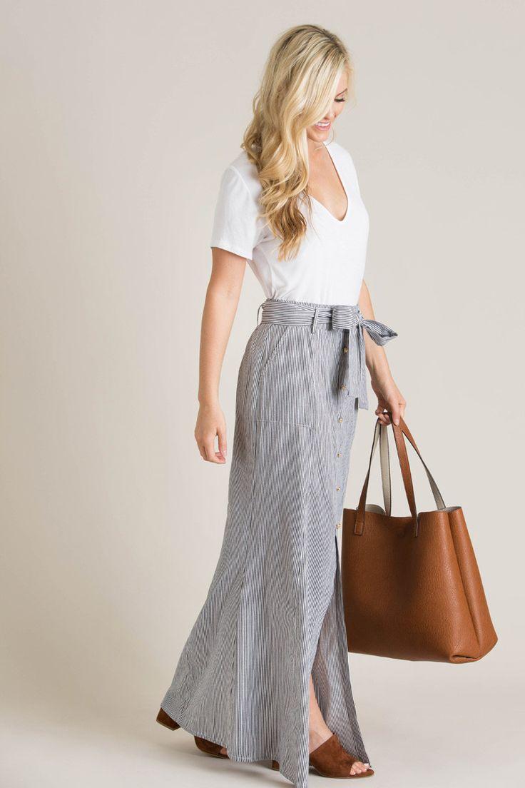 Adeline Navy Striped Maxi Skirt