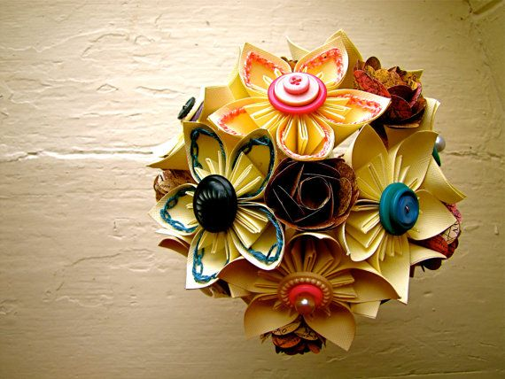 fun paper wedding bouquet that lasts forever (by the little red button)