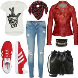 Dieses rockige Freizeit-Outfit besteht aus einem print T-Shirt und einer Jeans. Die dazu passende rote Lederjacke ist der Hingucker! Die Sneaker von Adidas und der Schal passen perfekt zu der Jacke und die schwarze Tasche sowie das Armband runden das Outfit ab. Hier könnt ihr weitere Outfits sehen.    #adidas #rockig #ledejacke