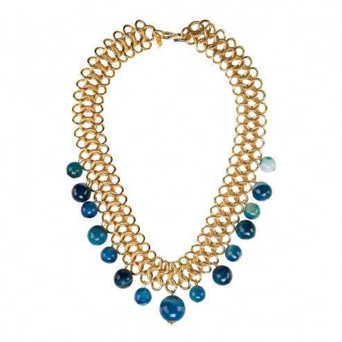 Kenneth Jay Lane Blue Agate Choker Necklace at aquaruby.com