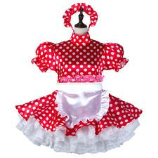 lockable french sissy maid satin dress polka dots Unisex Tailor-made[G2264]