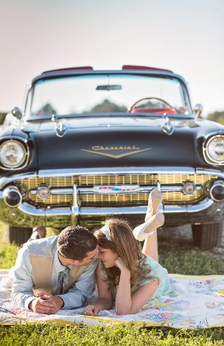 Super cute vintage engagement shoot idea! Captured by Thomas Ross Photography…