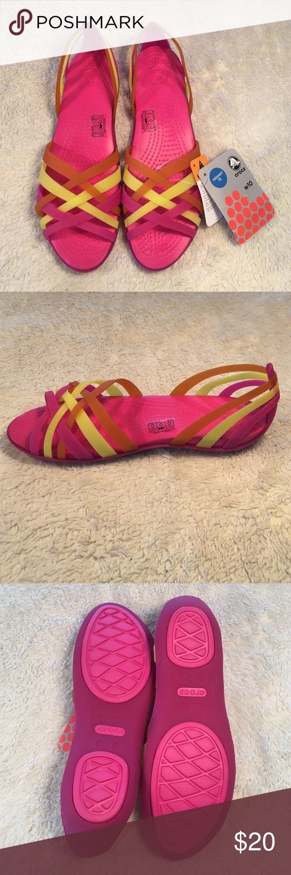 Bright Crocs Huarache Flats | Fuschia/Grapefruit Another Zulily purchase I didn't end up wearing. Comfy style, bright colors. Perfect for summer! CROCS Shoes Sandals