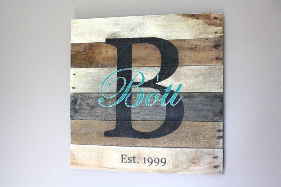 Large Family Name Pallet Sign. Wedding Anniversary Gift. Last Name. Established…