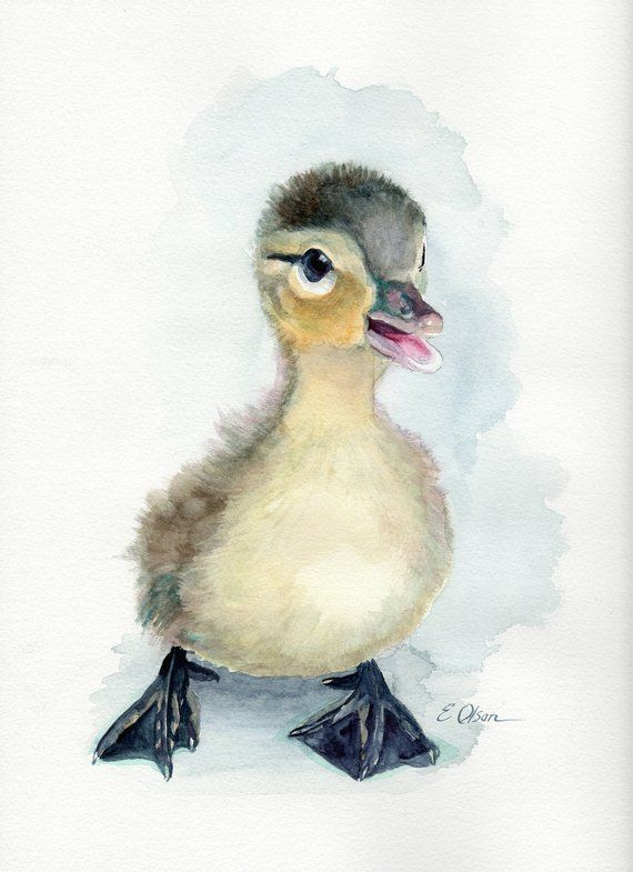 ORIGINAL watercolor duck, duckling wall art, nursery decor, animal art, baby animal art, nursery whale