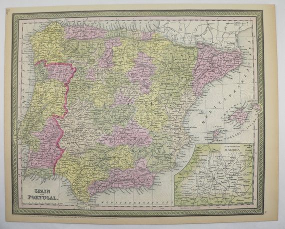 Antique Spain Map Portugal 1855 Mitchell Map Special Gift Idea for the Home Decor Genealogy Gift Housewarming Wedding Gift Vintage Wall Map by OldMapsandPrints on Etsy