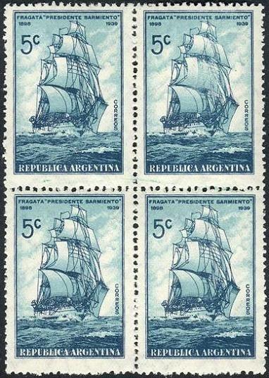 La Armada Argentina recibió en 1898 el buque Fragata Presidente Sarmiento, que había sido mandado a construír en Inglaterra.   Esta Fragata se convirtió en el Buque Escuela de la Marina Argentina y luego de una larga y fructífera vida útil, en 1961 fue declarado Monumento Histórico Nacional.   Aquí lo vemos en un sello emitido en 1939 :
