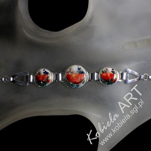 bransoletka ręcznie malowaną ceramika - oprawa srebro ( 925 )