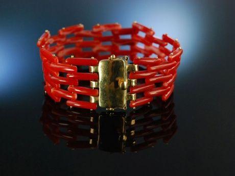 Fantastic Coral Bracelet! Traum Armband Moro Edel Koralle Gold 750 / 18 Karat, exquisiter Korallenschmuck bei Die Halsbandaffaire
