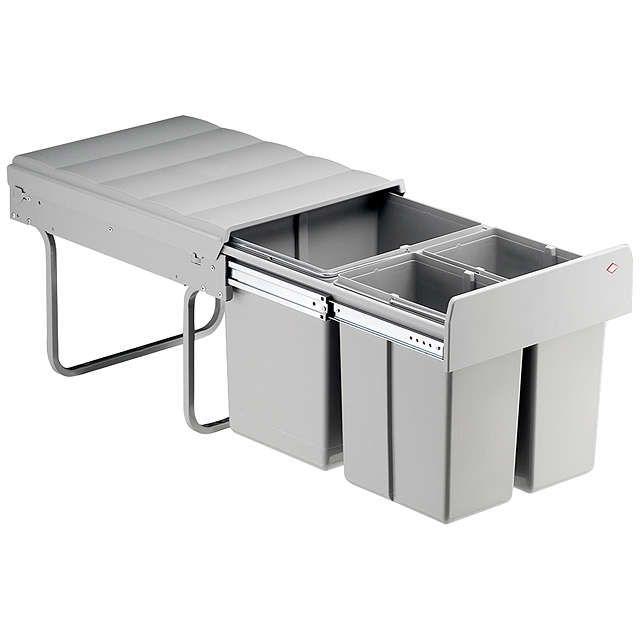 Wesco Shorty Double Pull-Out Kitchen Bin, 30L, Grey John lewis