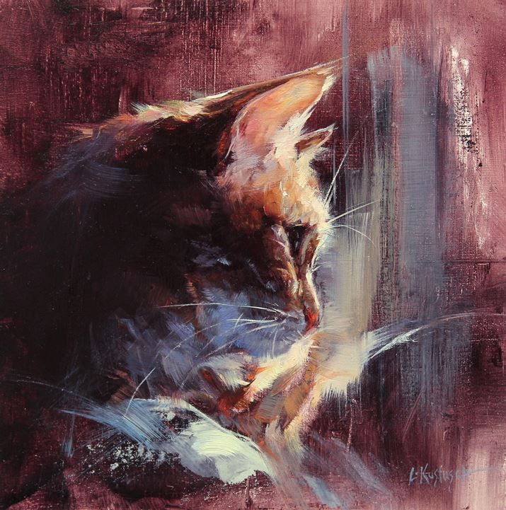 I like the fact that it takes a second, or two, to discover this is a painting of a cat. Nobulous M.M. Passionate Burton by Lindsey Kustusch (8in square) Oil on panel.