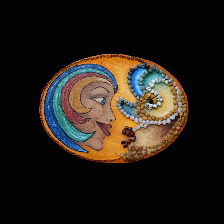 """""""Contrastes"""" Wall sculpture oil, agate, amber 29.55''X21.67''X1.58''. Support wood OSB panel. Subject woman face and mask. Colorful, playful! Strofedistoffa on Etsy"""